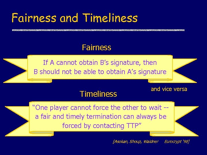 Fairness and Timeliness Fairness If A cannot obtain B's signature, then B should not