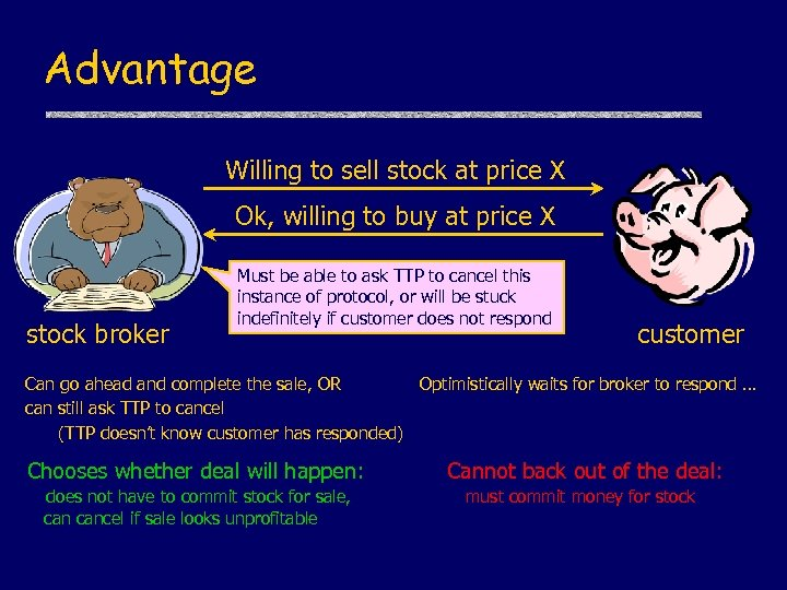 Advantage Willing to sell stock at price X Ok, willing to buy at price