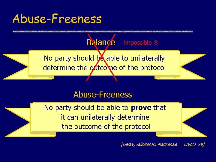 Abuse-Freeness Balance impossible No party should be able to unilaterally determine the outcome of