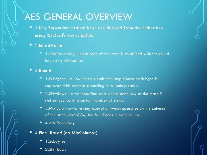 AES GENERAL OVERVIEW • 1. Key Expansion—round keys are derived from the cipher key