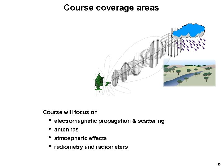 Course coverage areas Course will focus on • • electromagnetic propagation & scattering antennas