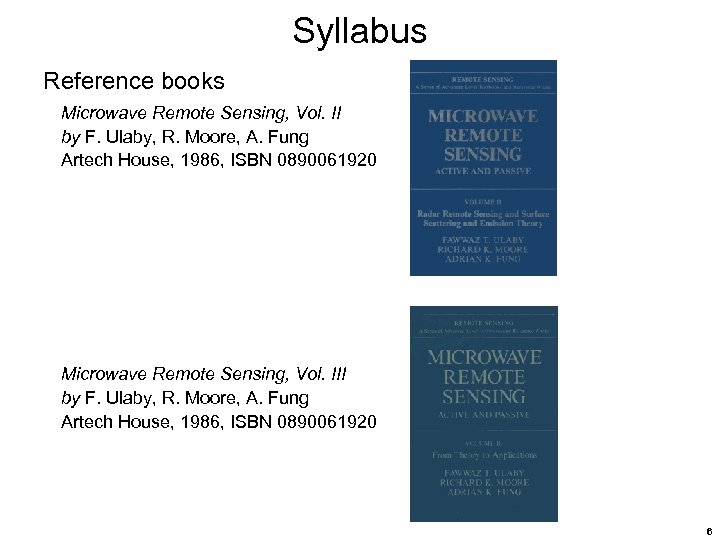 Syllabus Reference books Microwave Remote Sensing, Vol. II by F. Ulaby, R. Moore, A.