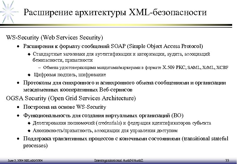 Расширение архитектуры XML-безопасности WS-Security (Web Services Security) · Расширения к формату сообщений SOAP (Simple