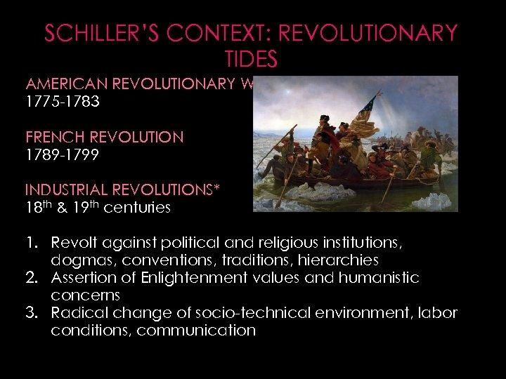 SCHILLER'S CONTEXT: REVOLUTIONARY TIDES AMERICAN REVOLUTIONARY WAR 1775 -1783 FRENCH REVOLUTION 1789 -1799 INDUSTRIAL