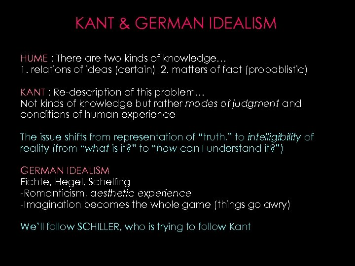 KANT & GERMAN IDEALISM HUME : There are two kinds of knowledge… 1. relations