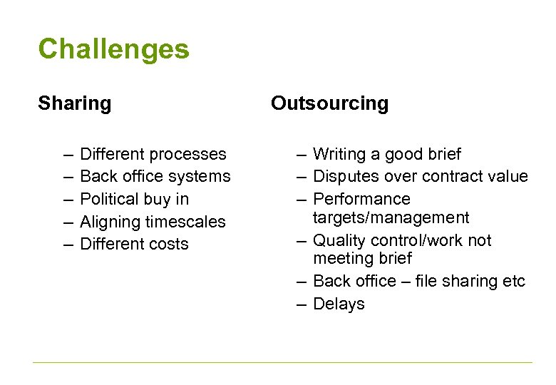 Challenges Sharing – – – Different processes Back office systems Political buy in Aligning