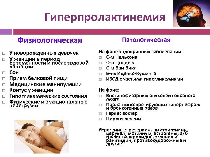 Гиперпролактинемия Физиологическая У новорожденных девочек У женщин в период беременности и послеродовой лактации Сон