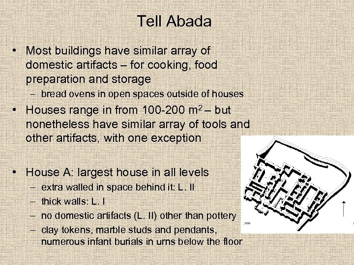 Tell Abada • Most buildings have similar array of domestic artifacts – for cooking,