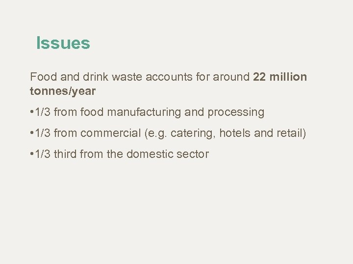Issues Food and drink waste accounts for around 22 million tonnes/year • 1/3 from