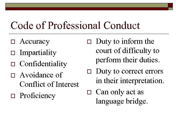 Code of Professional Conduct o o o Accuracy Impartiality Confidentiality Avoidance of Conflict of