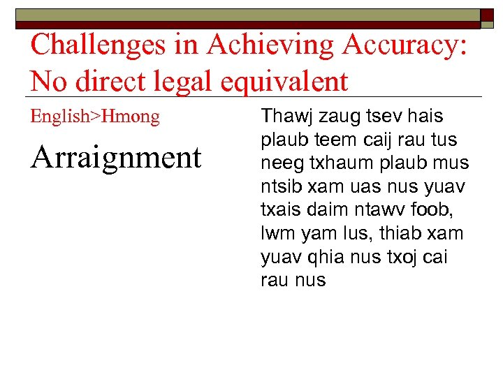 Challenges in Achieving Accuracy: No direct legal equivalent English>Hmong Arraignment Thawj zaug tsev hais