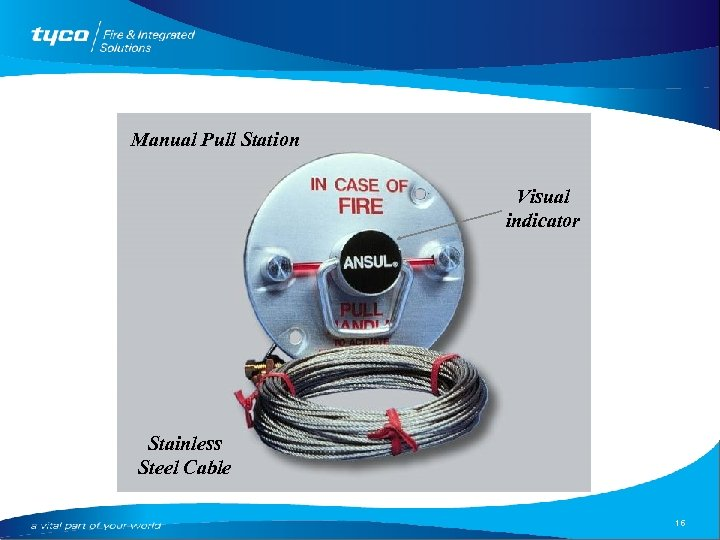 Manual Pull Station Visual indicator Stainless Steel Cable 16