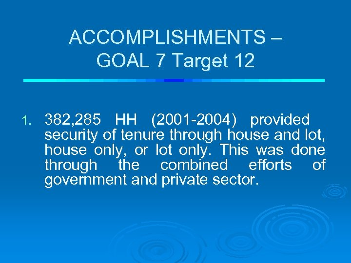 ACCOMPLISHMENTS – GOAL 7 Target 12 1. 382, 285 HH (2001 -2004) provided security