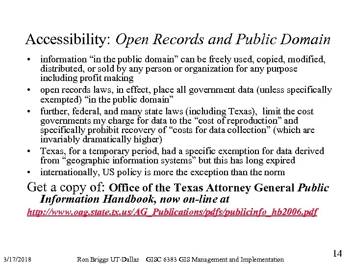 """Accessibility: Open Records and Public Domain • information """"in the public domain"""" can be"""