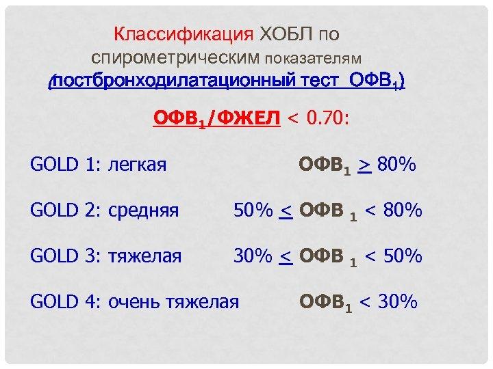 Классификация ХОБЛ по спирометрическим показателям (постбронходилатационный тест ОФВ 1) ОФВ 1/ФЖЕЛ < 0. 70: