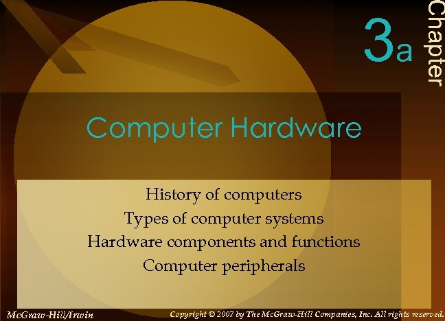 Chapter 3 a Computer Hardware History of computers Types of computer systems Hardware components