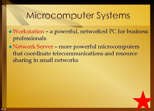 Microcomputer Systems l Workstation – a powerful, networked PC for business professionals l Network