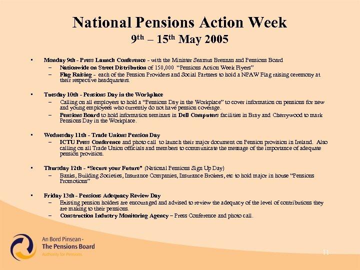 National Pensions Action Week 9 th – 15 th May 2005 • Monday 9