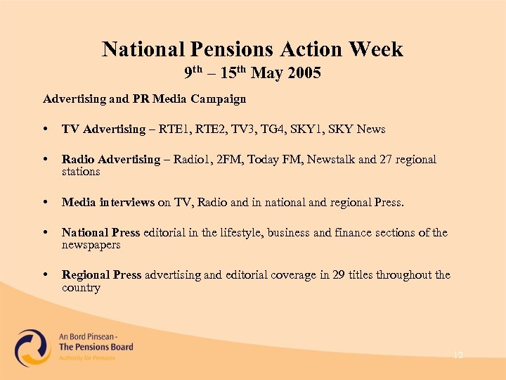 National Pensions Action Week 9 th – 15 th May 2005 Advertising and PR