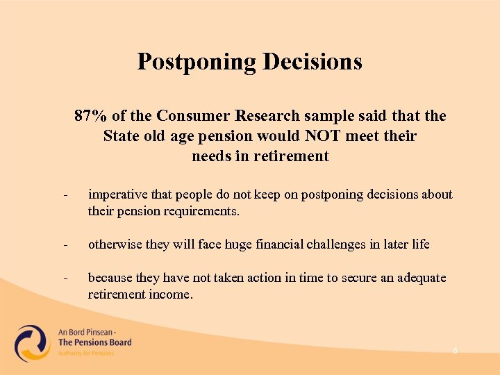 Postponing Decisions 87% of the Consumer Research sample said that the State old age