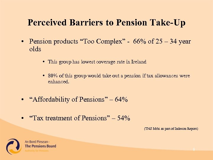 """Perceived Barriers to Pension Take-Up • Pension products """"Too Complex"""" - 66% of 25"""