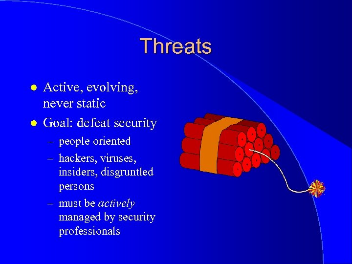 Threats l l Active, evolving, never static Goal: defeat security – people oriented –