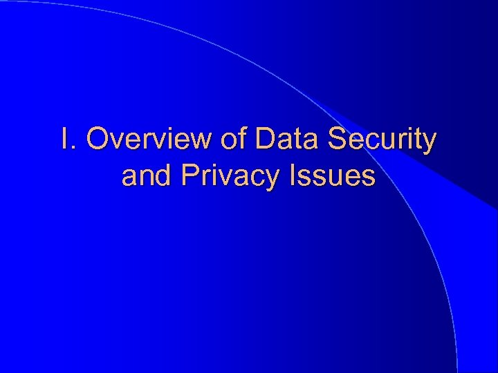 I. Overview of Data Security and Privacy Issues
