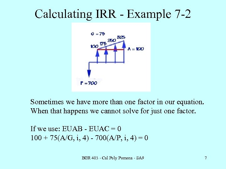 Calculating IRR - Example 7 -2 Sometimes we have more than one factor in