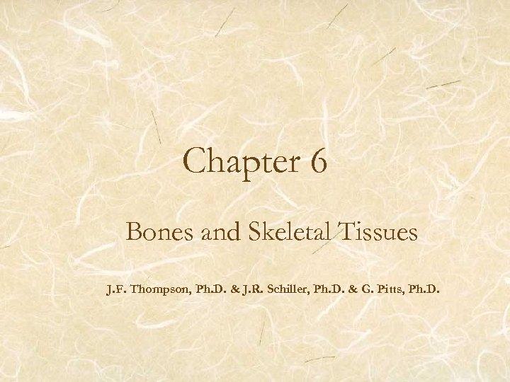 Chapter 6 Bones and Skeletal Tissues J. F. Thompson, Ph. D. & J. R.