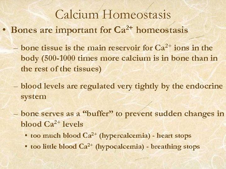 Calcium Homeostasis • Bones are important for Ca 2+ homeostasis – bone tissue is
