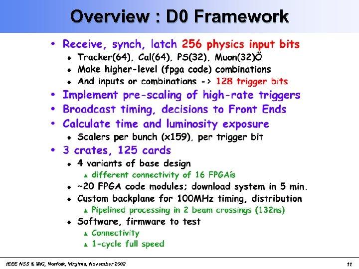 Overview : D 0 Framework IEEE NSS & MIC, Norfolk, Virginia, November 2002 11
