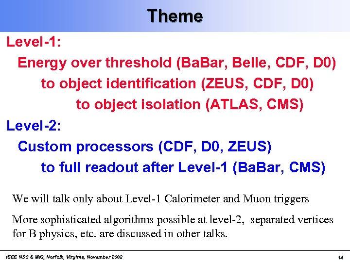 Theme Level-1: Energy over threshold (Ba. Bar, Belle, CDF, D 0) to object identification