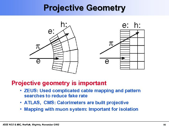 Projective Geometry Projective geometry is important • ZEUS: Used complicated cable mapping and pattern