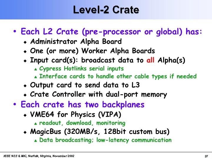 Level-2 Crate IEEE NSS & MIC, Norfolk, Virginia, November 2002 27