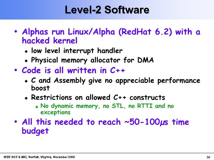 Level-2 Software IEEE NSS & MIC, Norfolk, Virginia, November 2002 30