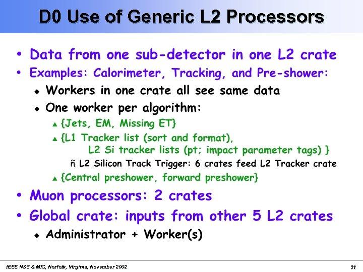 D 0 Use of Generic L 2 Processors IEEE NSS & MIC, Norfolk, Virginia,