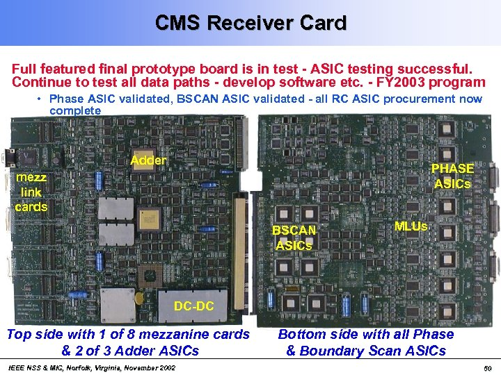 CMS Receiver Card Full featured final prototype board is in test - ASIC testing
