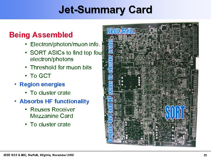 Jet-Summary Card Being Assembled • Electron/photon/muon info. • SORT ASICs to find top four