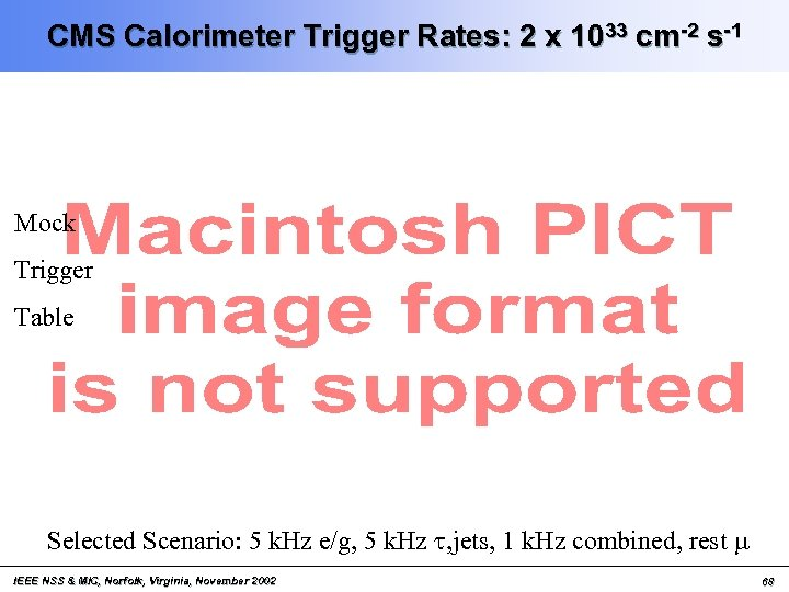 CMS Calorimeter Trigger Rates: 2 x 1033 cm-2 s-1 Mock Trigger Table Selected Scenario: