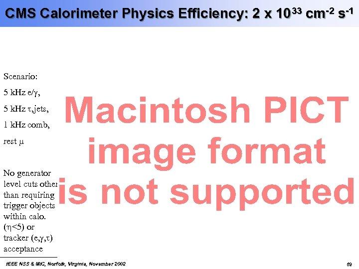 CMS Calorimeter Physics Efficiency: 2 x 1033 cm-2 s-1 Scenario: 5 k. Hz e/g,