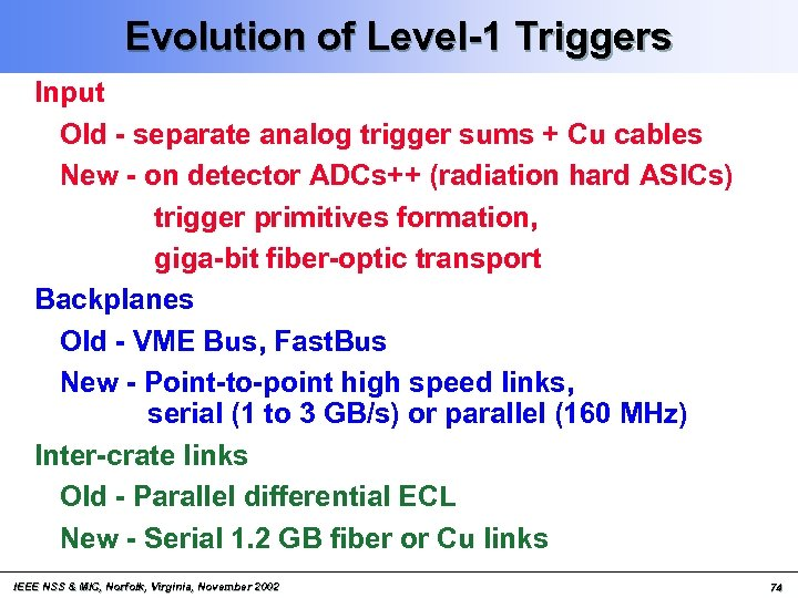 Evolution of Level-1 Triggers Input Old - separate analog trigger sums + Cu cables