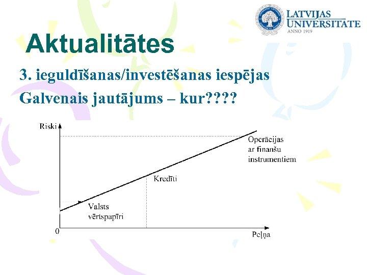 Aktualitātes 3. ieguldīšanas/investēšanas iespējas Galvenais jautājums – kur? ?