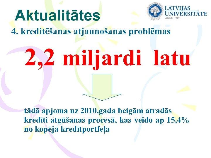 Aktualitātes 4. kreditēšanas atjaunošanas problēmas 2, 2 miljardi latu tādā apjoma uz 2010. gada