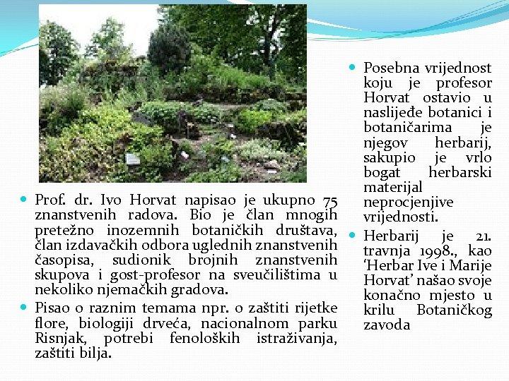 Prof. dr. Ivo Horvat napisao je ukupno 75 znanstvenih radova. Bio je član
