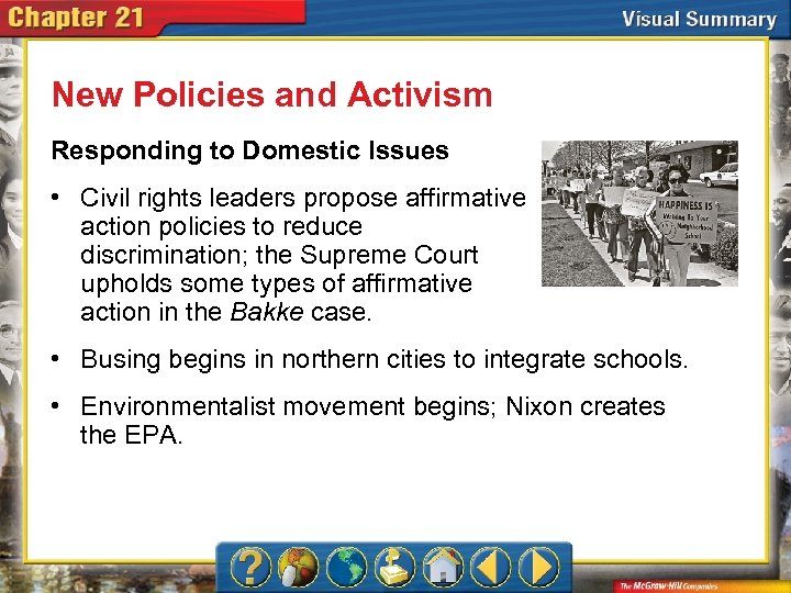 New Policies and Activism Responding to Domestic Issues • Civil rights leaders propose affirmative