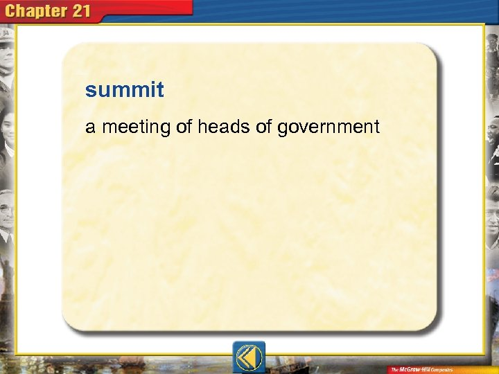 summit  a meeting of heads of government