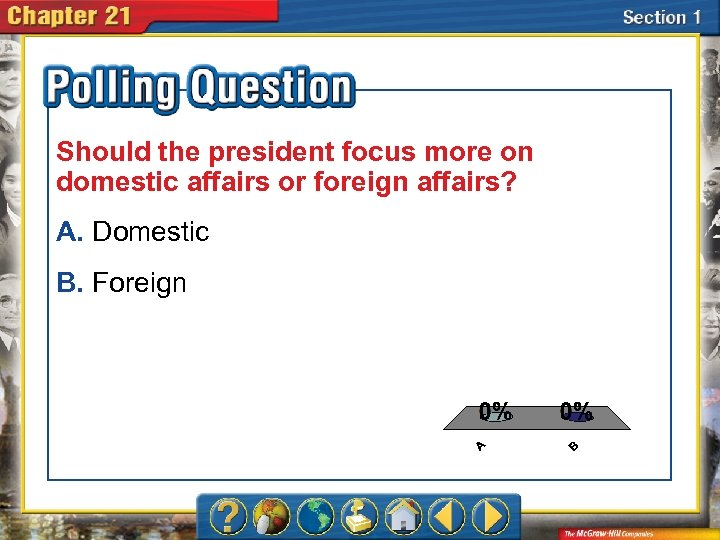 Should the president focus more on domestic affairs or foreign affairs? A. Domestic B.
