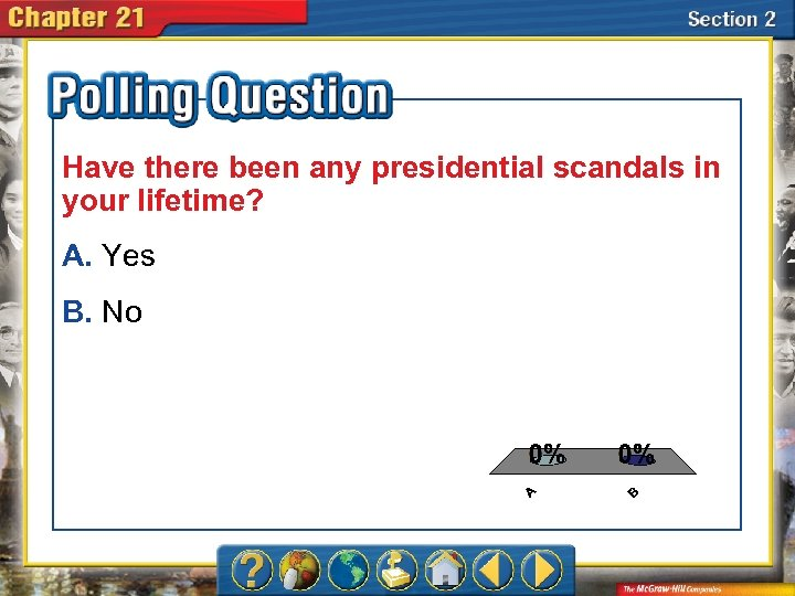 Have there been any presidential scandals in your lifetime? A. Yes B. No A.