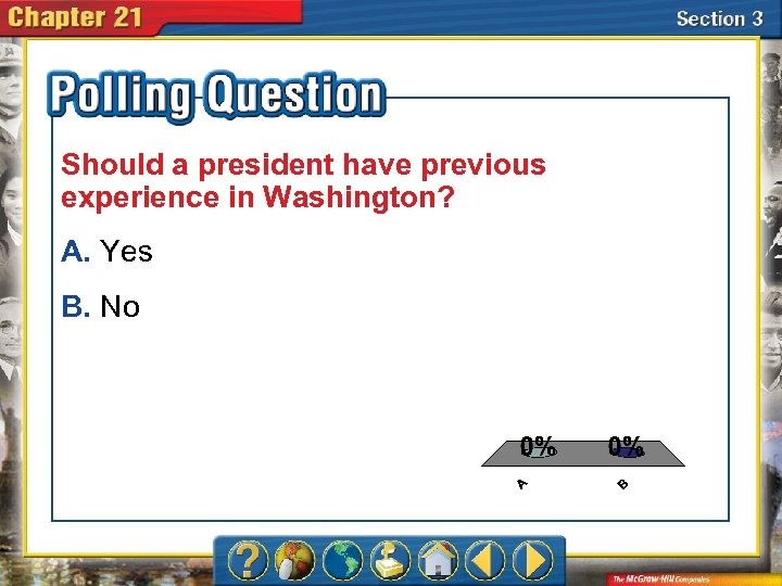 Should a president have previous experience in Washington? A. Yes B. No A. A