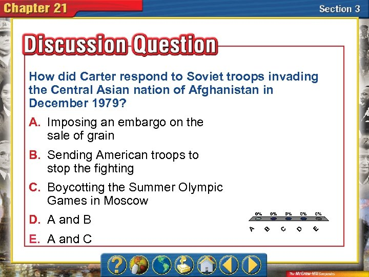 How did Carter respond to Soviet troops invading the Central Asian nation of Afghanistan